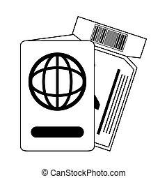 boleto, estilo, línea aérea, icono, verano, viaje, vacaciones, pasaporte, pase, línea