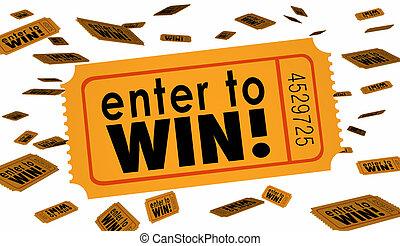boleto, victoria, palabras, afortunado, concurso, sortear, lotería, ilustración, entrar, 3d