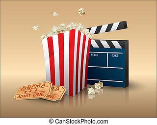 boletos, badajo, palomitas, tabla, película
