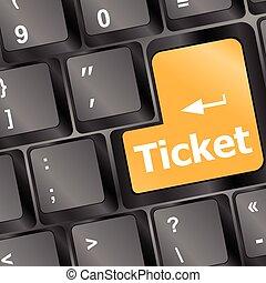 boletos, comprar, ilustración de la computadora, vector, llave