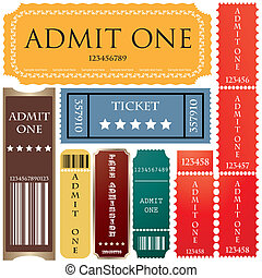 boletos, en, diferente, estilos
