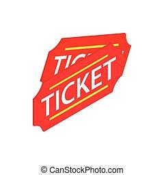 boletos, isométrico, estilo, dos, icono, rojo, 3d