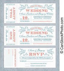 boletos, vector, invitar, boda