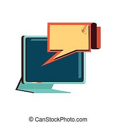 bolha, computador, fala, monitor