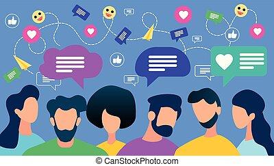 bolha, comunicar, fala, torcida, pessoas