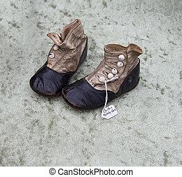 bolha, csecsemő, öreg, cipők, piac