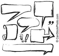 bolha, doodle, fala, isolado