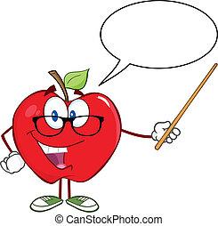 bolha, fala, maçã, professor