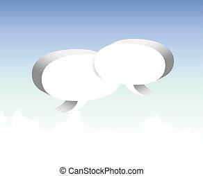 bolha, fala, vetorial, nuvens, sky.