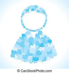 bolha, fazer, mensagem, grupo, usuário