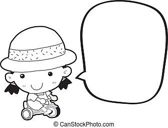 bolha, menina, fala, caricatura