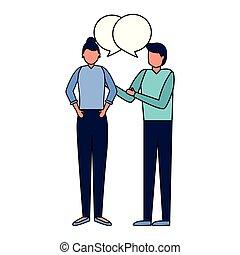 bolha, mulher, fala, conversa, homem