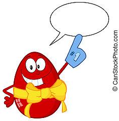 bolha, ovo páscoa, vermelho, fala