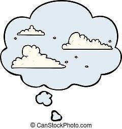 bolha pensamento, nuvens, caricatura