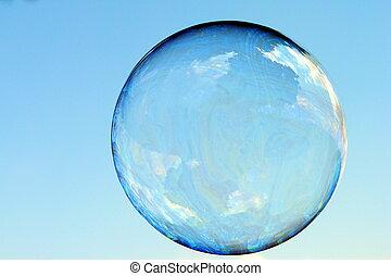 bolha sabão, em, a, céu