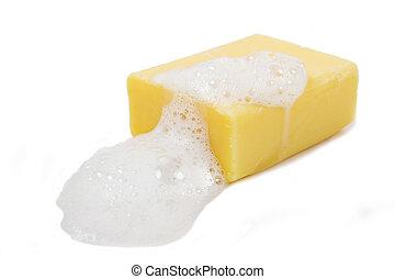 bolha sabão, fundo, isolamento, amarela, branca