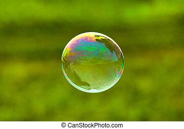 bolha sabão, ligado, experiência verde