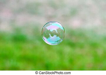 bolha sabão, voando