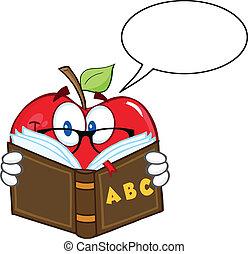 bolha, sorrindo, fala, maçã