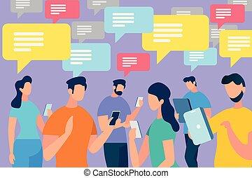 bolhas, comunicar, fala, torcida, pessoas