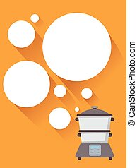 bolhas, cozinhar, vapor, ilustração