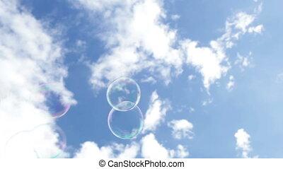 bolhas, em, a, céu