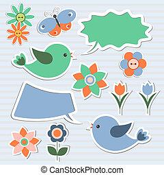 bolhas, fala, pássaros