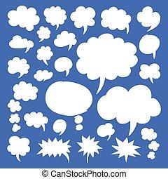 bolhas, fala, pensamento, nuvens