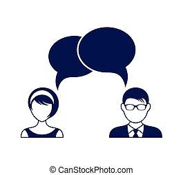 bolhas, mulher, fala, diálogo, homem