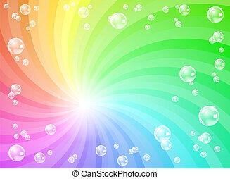 bolhas sabão, frente, coloridos, fundo