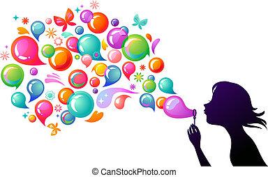 bolhas sabão soprando, -, 2