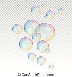 bolhas, transparente, fundo