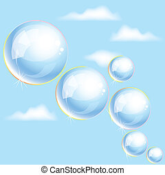 bolhas, vetorial, céu, sabonetes