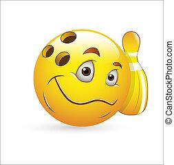 boliche, vetorial, smiley, ícone