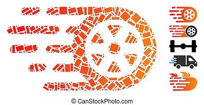 bolide, rectangular, rueda, collage, coche