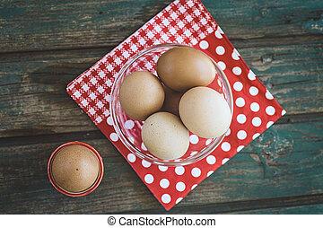 bolied, ägg, på, ved