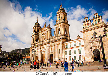 Bolivar Simon Square and the Cathedral in Bogota, Colombia. ...
