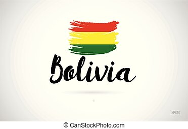 bolivia country flag concept with grunge design icon logo - ...