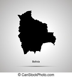 Bolivia country map, simple black silhouette on gray