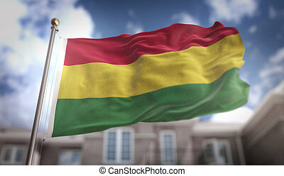 Bolivia Flag 3D Rendering on Blue Sky Building Background