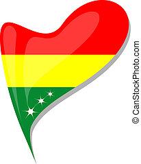 bolivia flag button heart shape. vector