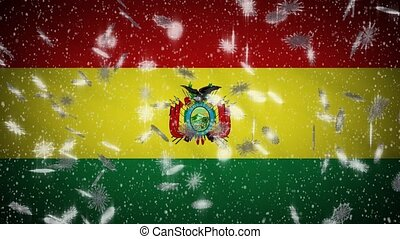 Bolivia flag falling snow loopable, New Year and Christmas background, loop.