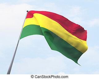 Bolivia flag flying on clear sky.