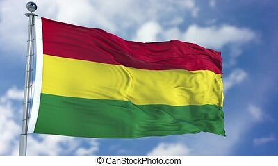 Bolivia Flag in a Blue Sky. Use this clip loud and proud to express loyalty and love to our country. It is a seamless loop with luma channel.