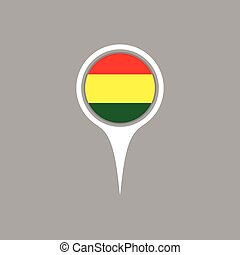 Bolivia  flag location map icon ,  Vector illustration.