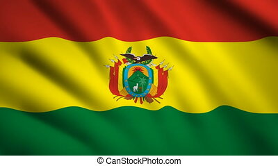 Bolivia flag Motion video waving in wind. Flag Closeup 1080p HD footage