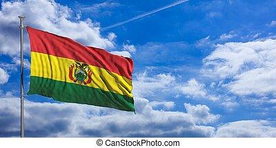 Bolivia flag on a blue sky background. 3d illustration