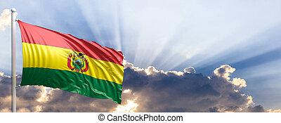 Bolivia flag on blue sky. 3d illustration