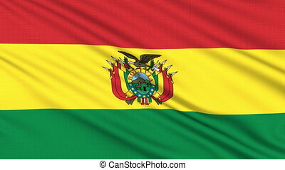 Bolivia flag, with real structure of a fabric
