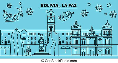 Bolivia, La Paz winter holidays skyline. Merry Christmas, Happy New Year decorated banner with Santa Claus.Bolivia, La Paz linear christmas city vector flat illustration